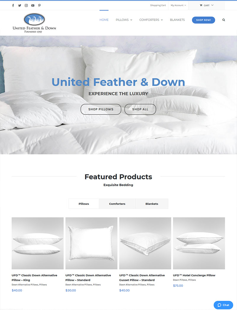 United Feather and Down New Website!